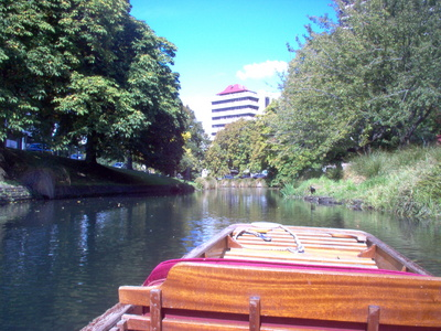 Punting down the Avon River Christchurch