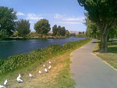 Avon River in Christchurch Looking towards the Port Hills
